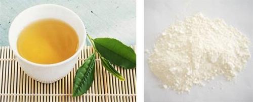 nước trà xanh và bột ngọc trai